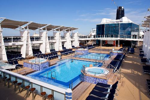 The Pool Deck on the Celebrity Solstice cruise ship.
