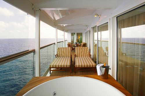 The Royal Suite on the Liberty of the Seas includes a balcony with a whirlpool tub.