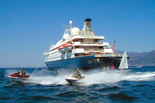 Guests on the SeaDream II yacht can go jet skiing from the ship's marina.