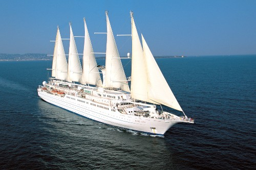 Windstar's Wind Spirit at sea.