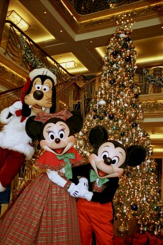 Holidays are magical aboard Disney Cruise Line where guests will find a nearly three-deck-tall tree festooned with decorations in the atrium lobby.