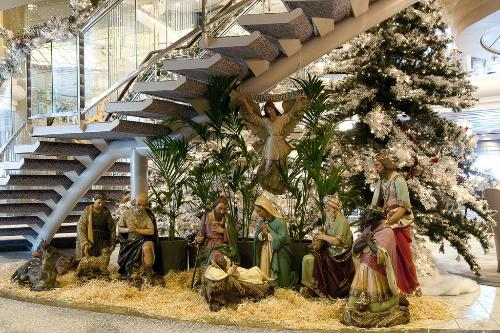 A traditional nativity scene is among the many holiday decorations on the Crystal Symphony.