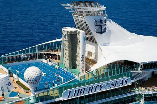 The sports deck of Royal Caribbean's Liberty of the Seas, featuring a basketball court and a rock wall.