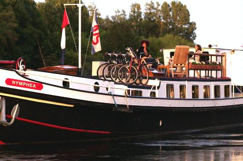Mountain bikes on the deck of Nymphea, a barge that cruises through the Loire Valley, France.