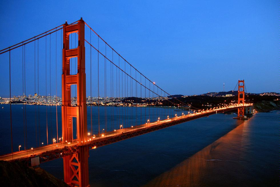 The Golden Gate Bridge at night in San Francisco. California.
