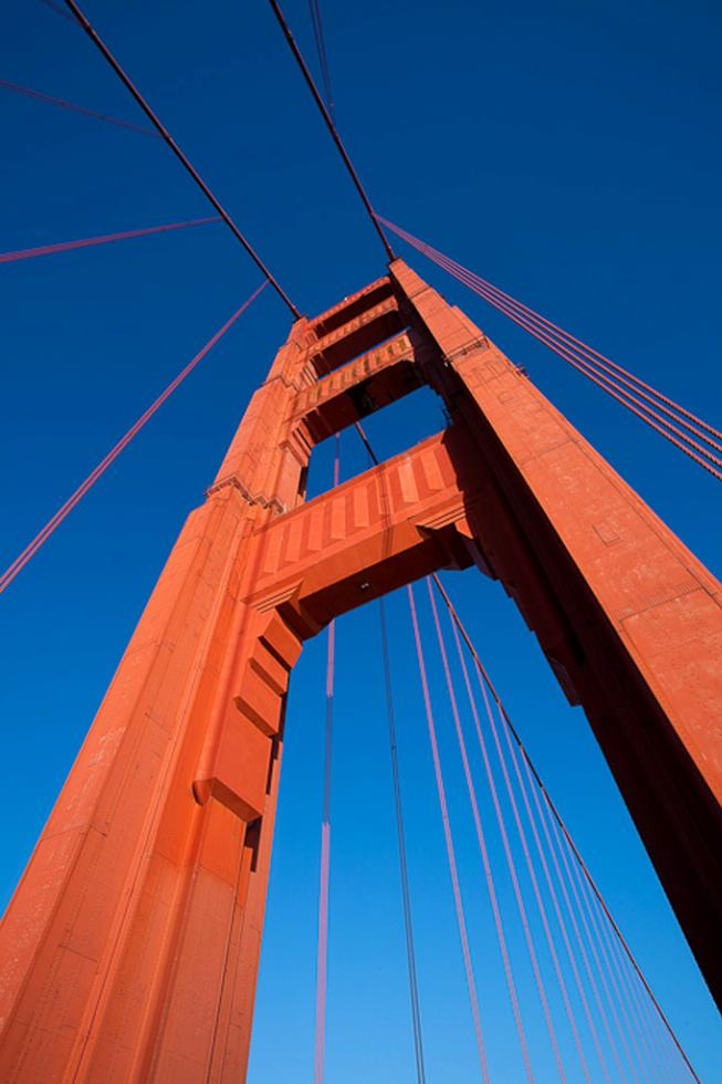 A detail of the Golden Gate Bridge in San Francisco, California.