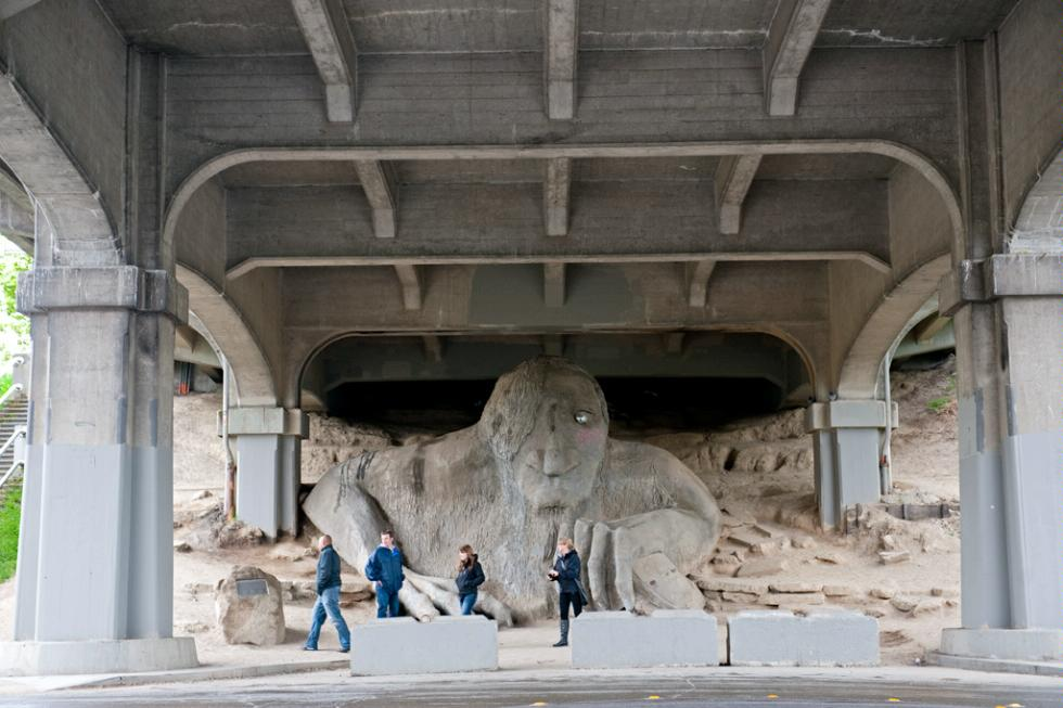 The Fremont Troll or the Troll Under the Bridge in Seattle