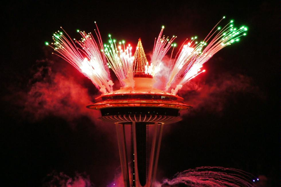 New Year's fireworks at the Space Needle in Seattle
