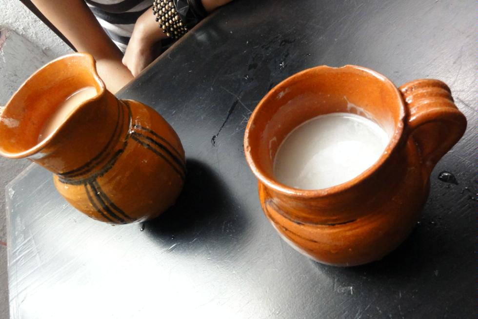 Mugs of Pulque in Mexico City