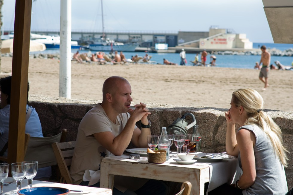 Casual beachside dining at Agua, Barcelona