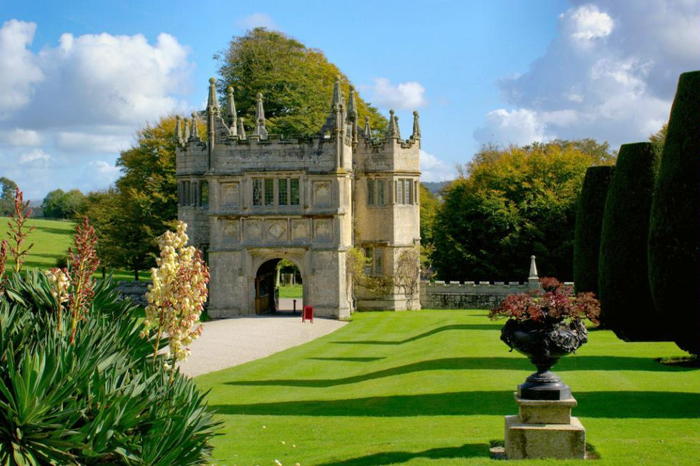 The gatehouse of Lanhydrock House in Cornwall, England.