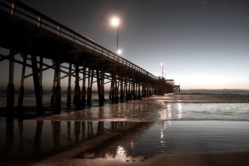 Sunset at the Newport City Beach pier in southern California.