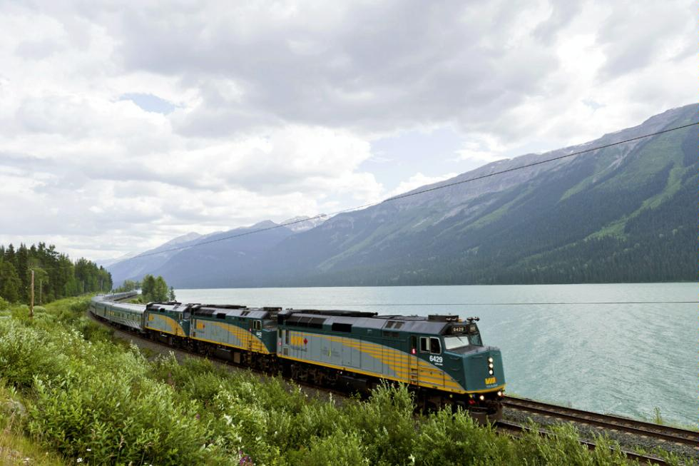 Jasper - Prince Rupert train next to Moose Lake, located between Valemount, BC and Jasper, Alberta.