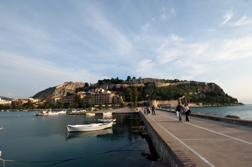 Nafplion, Greece, with Acronauplia in the background.
