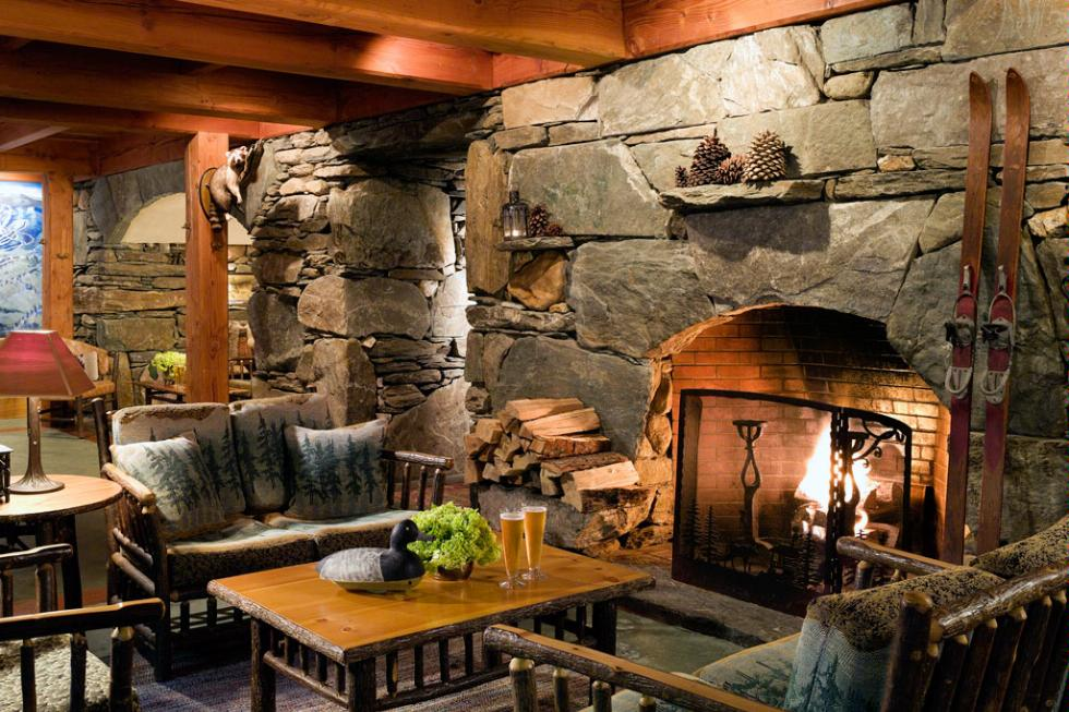 A fireplace in The Pitcher Inn in Warren, Vermont.