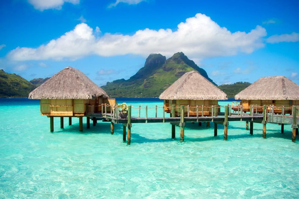 Bungalows over the water in Bora Bora, French Polynesia.