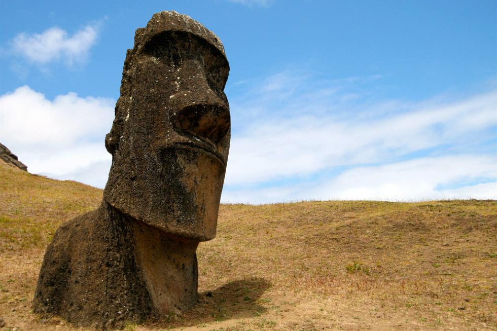 A large stone moai statue in Rapa Nui on Easter Island.
