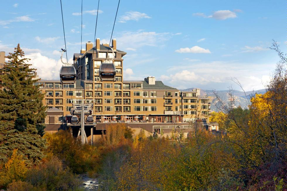Gondola outside The Westin Riverfront Resort & Spa, at Beaver Creek Mountain.