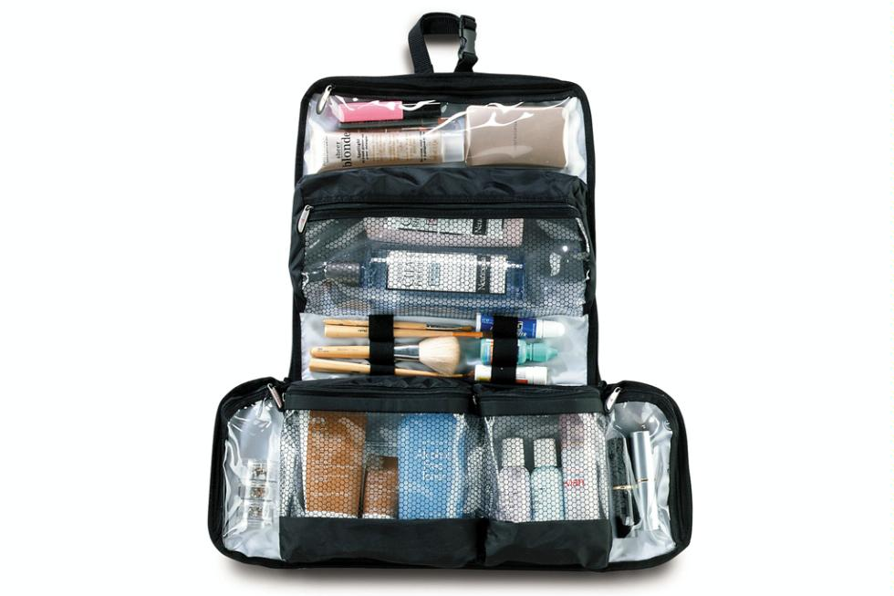 "Flat-Out toiletry kit by Magellan's, $29.85. <a href=""http://www.magellans.com/store/Packing_Aids___Toiletry_KitsTK418"" target=""_blank"">www.magellans.com</a>."
