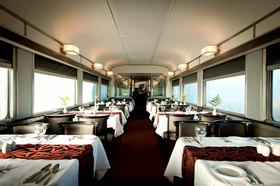 Dining Car inside a Via Rail Canada train.