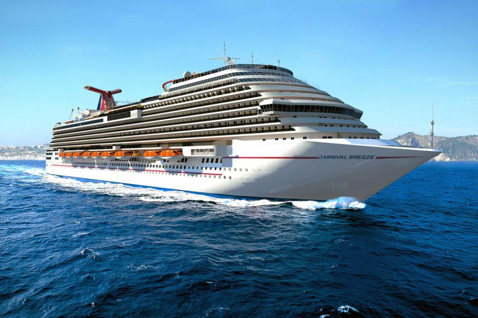 Rendering of the new Carnival Breeze, debuting in 2012.