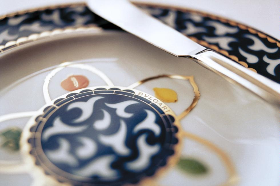 Elegant dining at Pinnacle Grill aboard Holland America Line features Bvlgari china.
