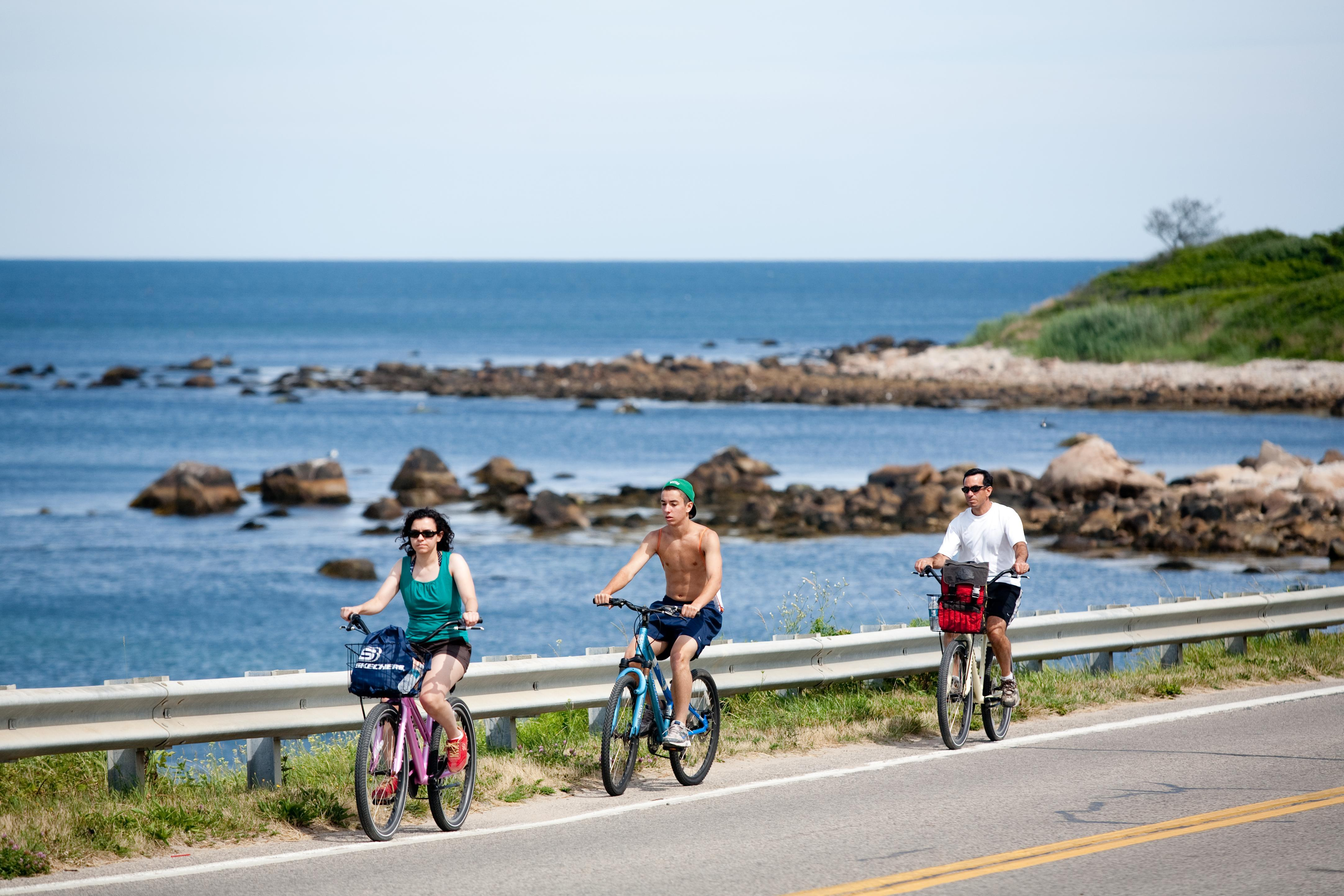 Bicycling on Block Island off the coast of Rhode Island
