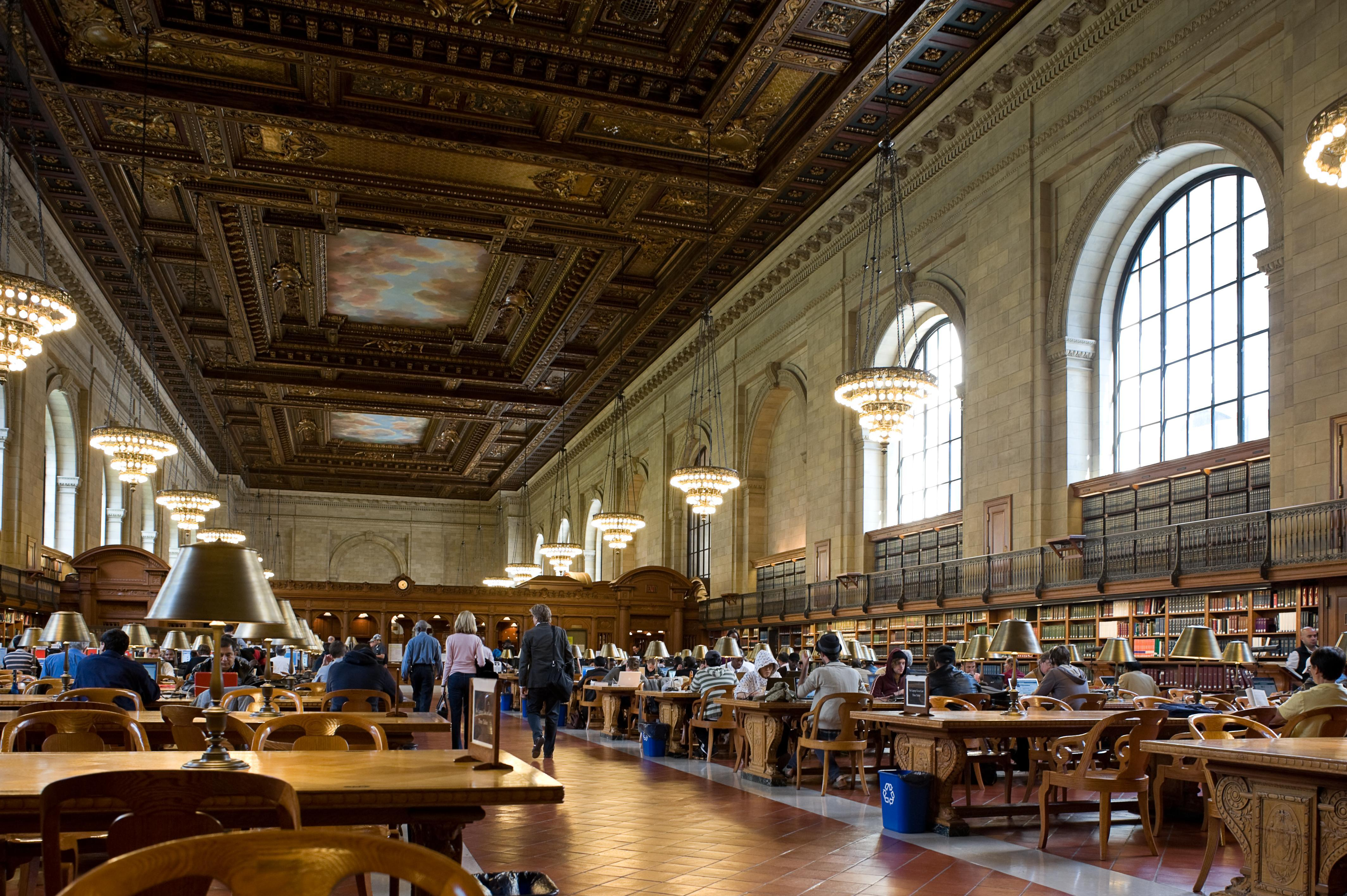 Main reading room at the New York Public Library